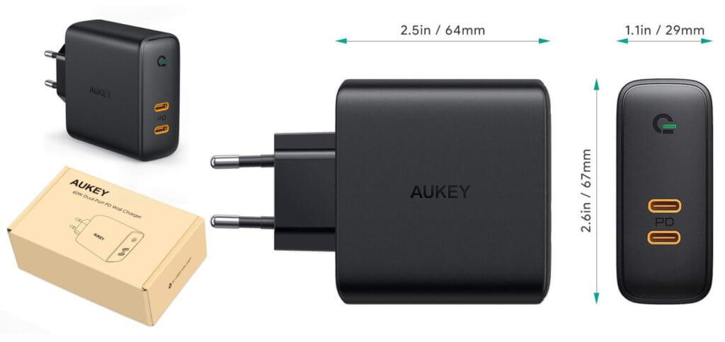 Das AUKEY PA-D5 Ladegerät mit GaN und Power Delivery liefert 60 W bzw. 18 + 45 W – schnelles Aufladen von iPhone, MacBook und Co. sind damit möglich.