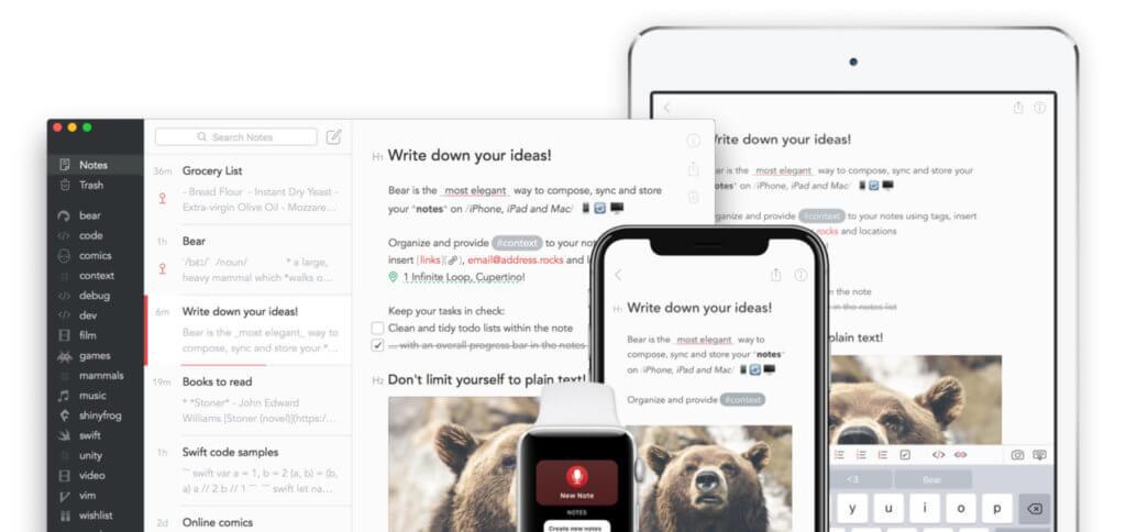 Die Bear App ist eine günstige Evernote-Alternative für iPhone, iPad, Mac und Apple Watch. Notizen in verschiedener Form sind möglich und werden per iCloud synchronisiert.