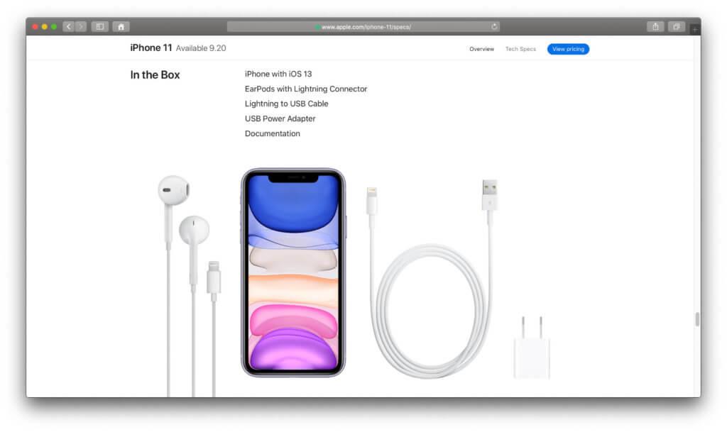 Schnelles Aufladen ist zwar möglich, im iPhone 11 Lieferumfang sind aber nur ein Standard-Netzteil und ein Lightning-auf-USB-A-Kabel enthalten.