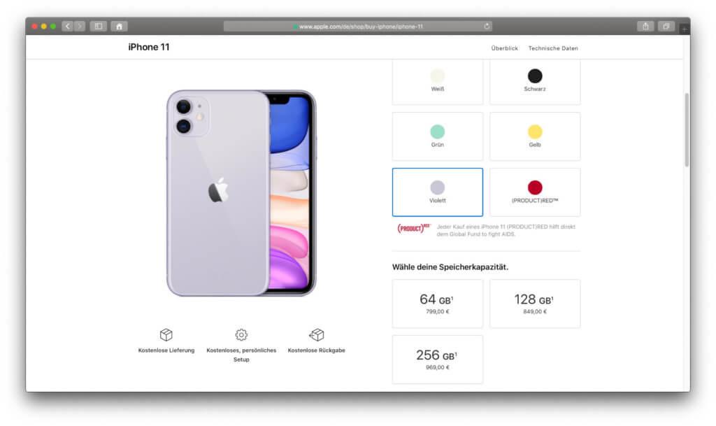 Der Apple iPhone 11 Preis richtet sich, wie immer, nach dem gewählten internen Speicher.