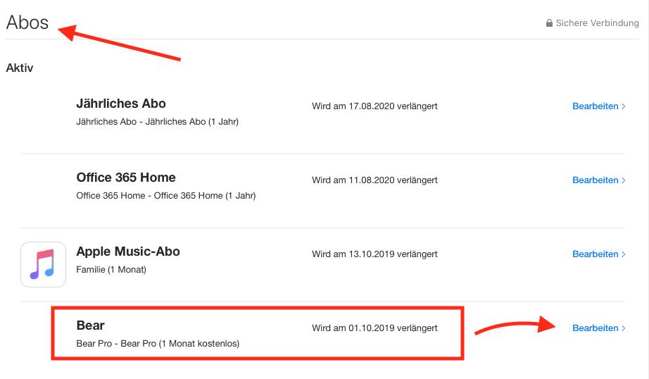"""Beispiel der iOS-App-Übersicht in iTunes. Wollt ihr ein Abonnement kündigen, klickt in der Abos-Übersicht neben der App-Beschreibung auf """"Bearbeiten""""."""