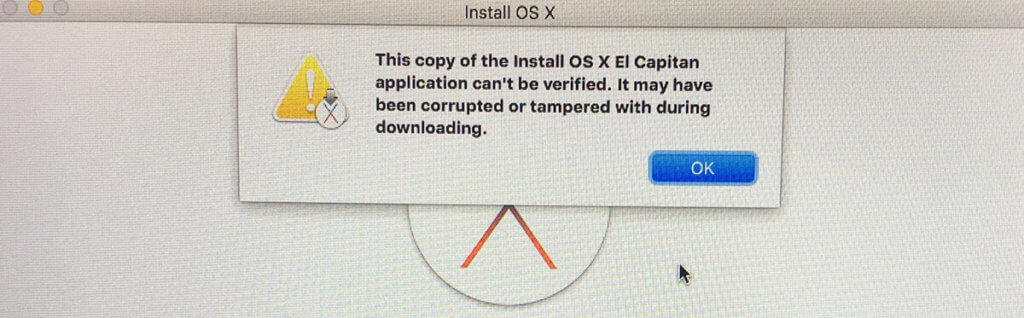 """""""This copy of the Install OS X Yosemite application can't be verified. It may have been corrupted or tampered with during downloading."""" – damit quittiert der OS X El Capitan Installer seinen Dienst."""