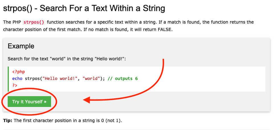 Mit der Try-it-yourself-Funktion lassen sich PHP-Befehle prima mit eigenem Content füttern und verändern.