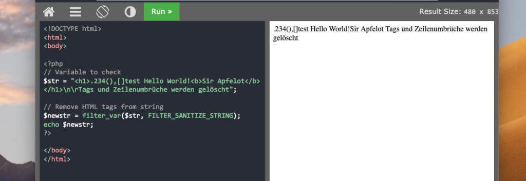 Im Test-Fenster sieht man links den PHP-Code. Dann klickt man oben auf RUN und hat direkt rechts die Ausgabe.