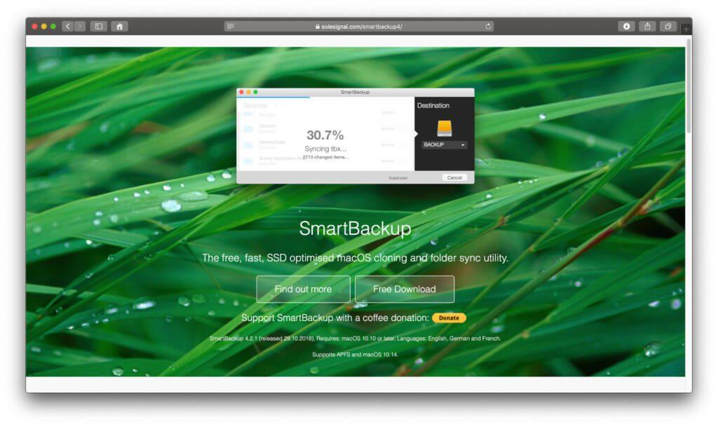 Die SmartBackup App für das Festplatten-Backup der Apple Mac-Festplatte findet ihr als gratis Download auf der Entwickler-Webseite.
