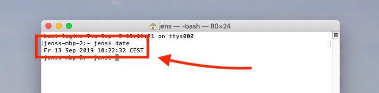 """Mit dem Terminal und dem Befehl """"date"""" lässt sich die Zeit abfragen, die der Mac derzeit verwendet."""