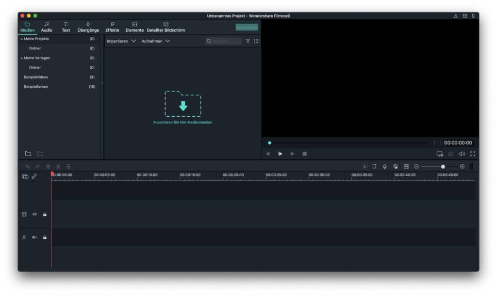 Wondershare Filmora 9 hat eine aufgeräumte Benutzeroberfläche. Darin stecken aber eine Menge Filter, Effekte, Titel, Abspann-Optionen und weitere Überraschungen!