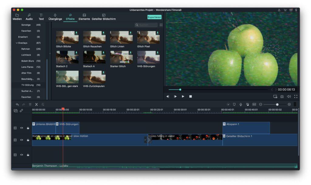 In einer Symbolleiste der App lassen sich Audio, Text, Übergänge, Effekte, Elemente und Geteilter Bildschirm auswählen. Jeder dieser Reiter bietet eine Fülle an Optionen für die Videobearbeitung. Neben den hier gezeigten gibt es noch viele mehr; zum Beispiel für individuelle Farbanpassungen und Tonwertkorrekturen.