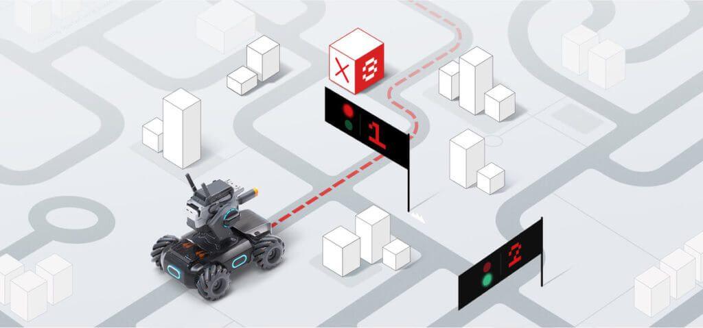 Wege Abfahren, Hindernisse erkennen, Objekte identifizieren, Personen folgen, und vieles mehr. Der per Scratch und Python programmierbare DJI RoboMaster S1 hilft beim Lernen von Programmiersprachen.