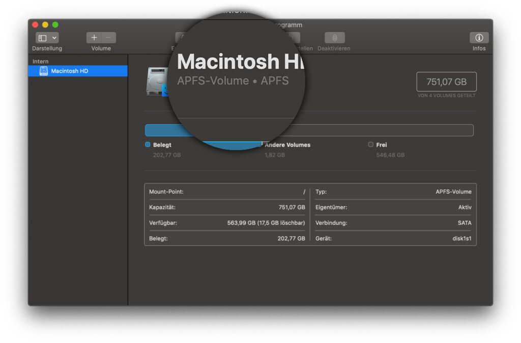 Um zwei macOS-Versionen ohne Partitionen auf einer Festplatte installieren zu können, muss diese im APFS-Dateisystem formatiert sein.