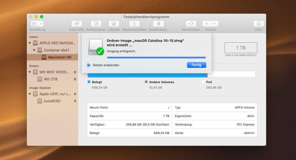 Fertig ist das DMG, mit dem man den macOS Catalina Installer gut archivieren und für andere Macs verwenden kann.