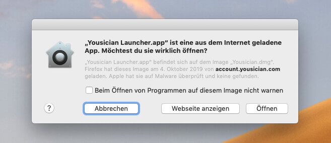 Wenn man Gatekeeper gesagt hat, dass auch Apps von zertifizierten Entwicklern in Ordnung sind, dann findet man einen Hinweis wieder diesen, falls man die Software öffnen möchte.