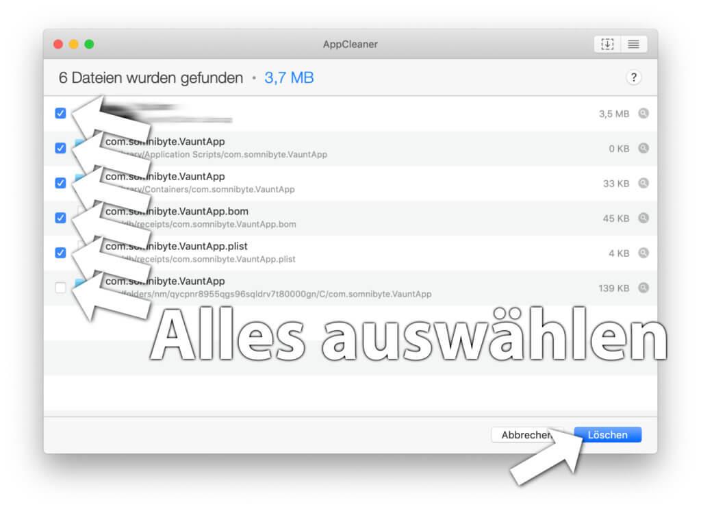 """Der AppCleaner in Aktion – ein Screenshot mit einer beliebigen App als Beispiel. Wählt alle dem Programm zugeschriebenen Komponenten aus und klickt auf """"Löschen""""."""