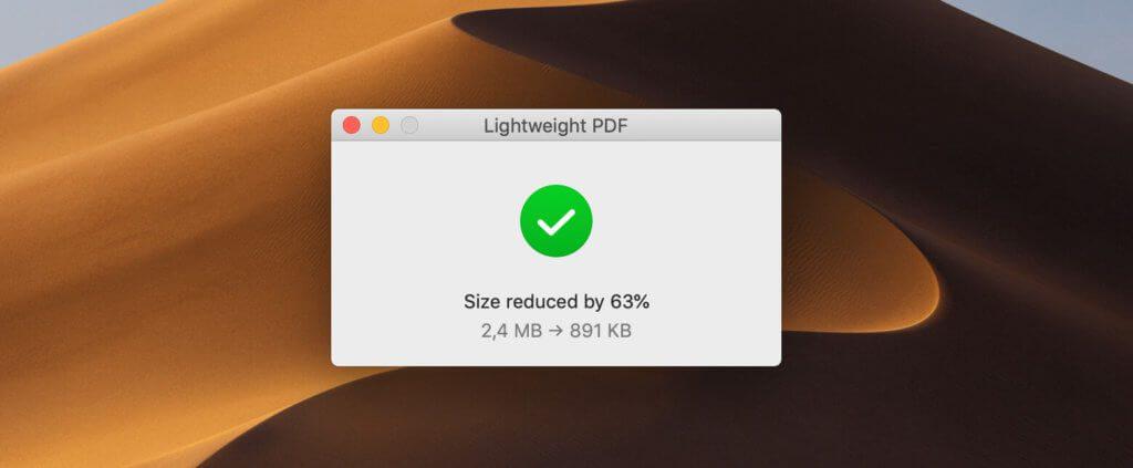 Speicherplatz-Einsparungen im Bereich von 60% sind bei dem Mac-Tool keine Seltenheit. Qualitätseinbussen konnte ich bisher aber noch nicht an den PDFs entdecken.