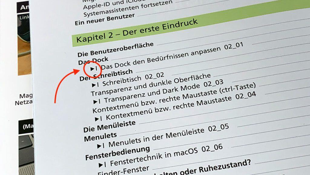 Im Inhaltsverzeichnis sieht man anhand der Play-Symbole schon, zu welchen Kapiteln es eine Videoerklärung gibt.