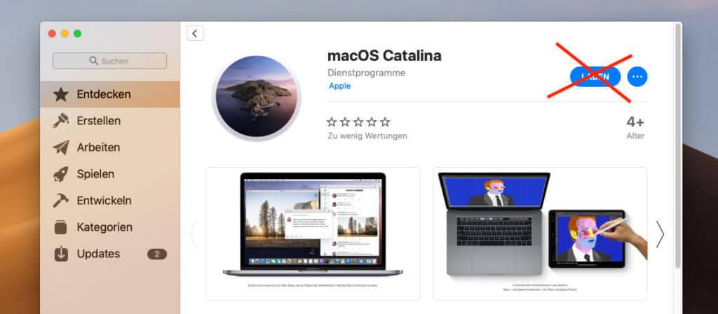 Es gibt macOS Catalina zwar auch im App Store, aber diesen Weg sollte man nicht wählen, wenn man den Installer sichern möchte.