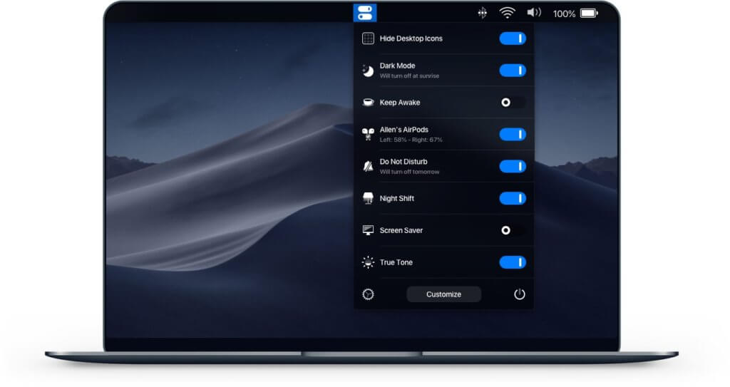 One Switch bringt macOS-Einstellungen als virtuelle Schalter in die Menüleiste. Bildquelle: fireball.studio