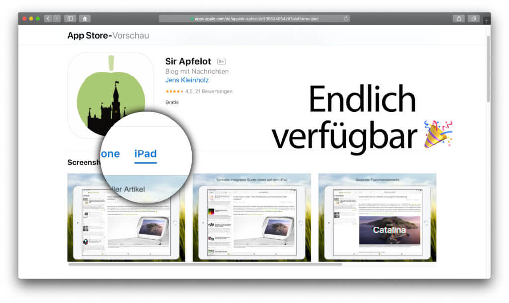 Endlich könnt ihr euch die Sir Apfelot App fürs iPad herunterladen – gratis und auf das größere Display hin angepasst.