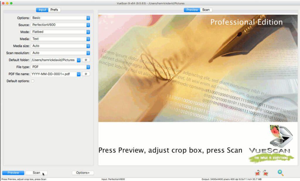 VueScan ermöglicht die Einstellung von Dateienamen-Vorgaben, Ausgabe-Formate wie PDF und nimmt durch die automatischen Vorgaben viel Arbeit beim Scannprozess ab.