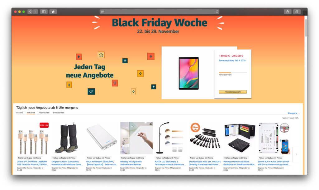 Heute ist die Aktionsseite zur Black Friday Woche 2019 gestartet, die Angebote und Rabatte in allen Produktkategorien zusammenfasst.