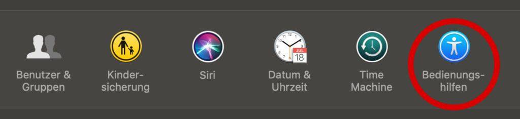 macOS Bedienungshilfe, Siri Spracheingabe deaktivieren