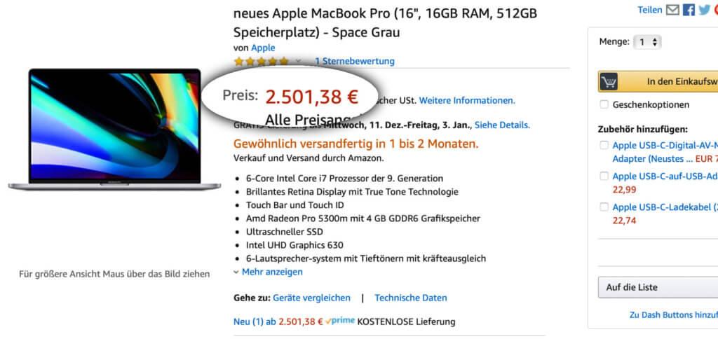 """Bei Amazon könnt ihr das neue MacBook Pro 16"""" mit 16 GB RAM günstiger kaufen. Leider nur mit langer Warte- bzw. Lieferzeit."""