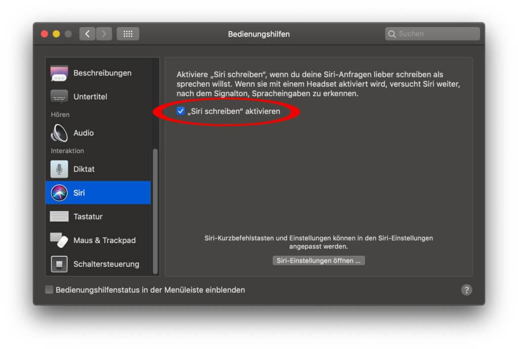 """Wenn ihr am Apple Mac Siri-Befehle eintippen wollt statt sie zu sprechen, aktiviert ihr einfach die Funktion """"Siri schreiben"""" in den Systemeinstellungen ;)"""
