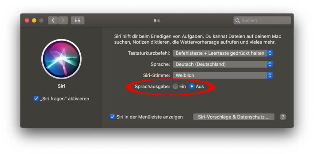 Setzt die Einstellung bei der Siri Sprachausgabe von Ein auf Aus und schon kommuniziert die Apple Sprachassistenz nur noch per Text mit euch.