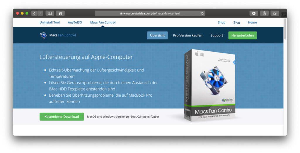 Macs Fan Control zeigt Bauteile-Temperatur beim Apple Mac, iMac und MacBook – und lässt euch die Lüfter-Geschwindigkeit steuern.