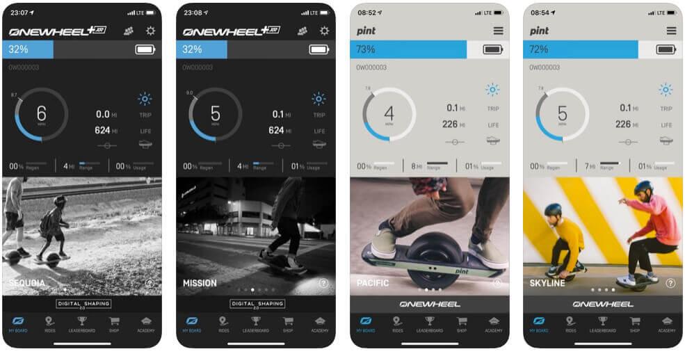 """Screenshots der Onewheel App auf dem iPhone – hier hat man die restliche Reichweite, Geschwindigkeit und Strecke im Blick und kann über die Funktion """"Rider search"""" im Menü auch andere Onewheel Fahrer finden (wenn sie es möchten)."""