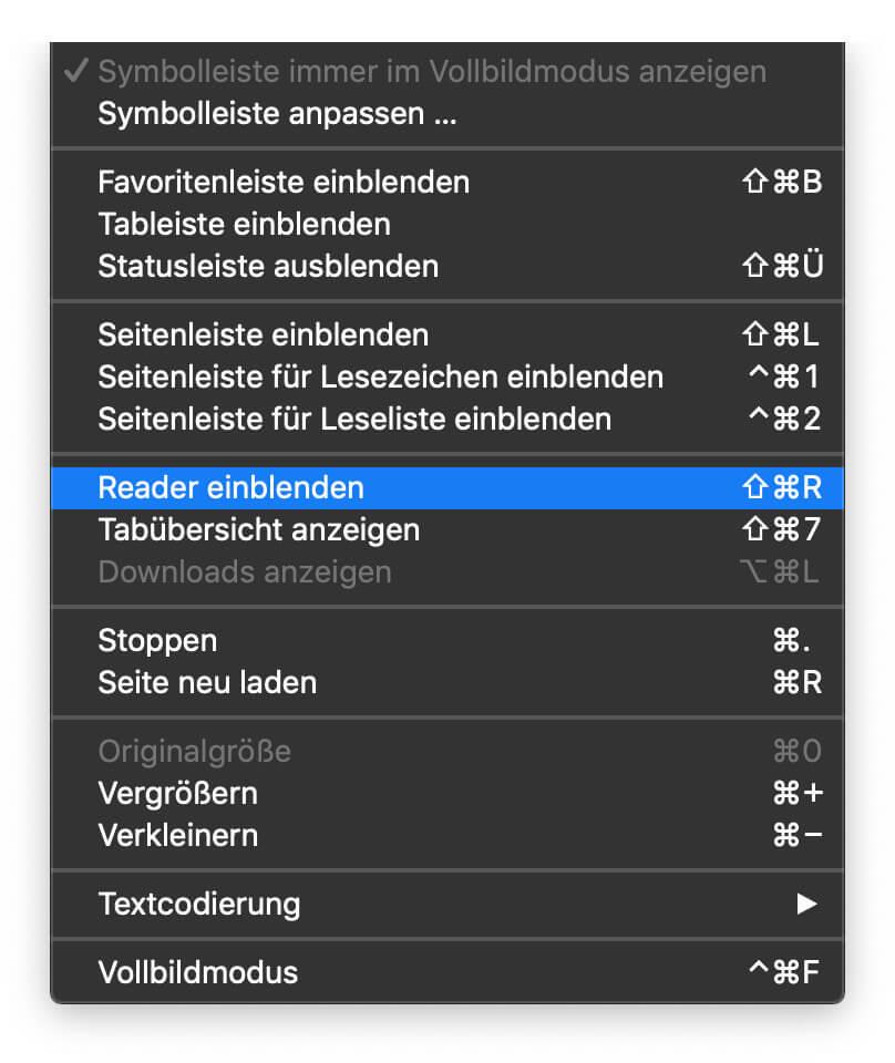 Um am Mac den Safari-Reaser zu aktivieren, braucht es nur zwei Klicks in der Menüleiste von macOS.