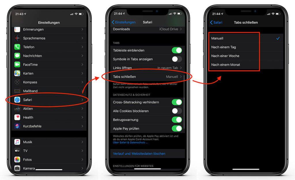 Unter Einstellungen > Safari > Tabs schließen kann man einstellen, wie lange Safari warten soll, bis nicht genutzte Tabs im Hintergrund geschlossen werden.