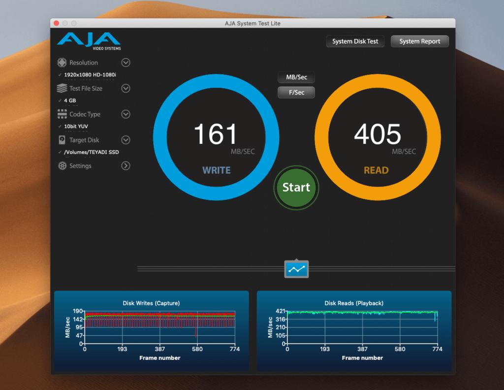 Hier die Datenübertragungsraten (gemessen mit Aja System Test), als die Teyadi SSD über den Hub lief.