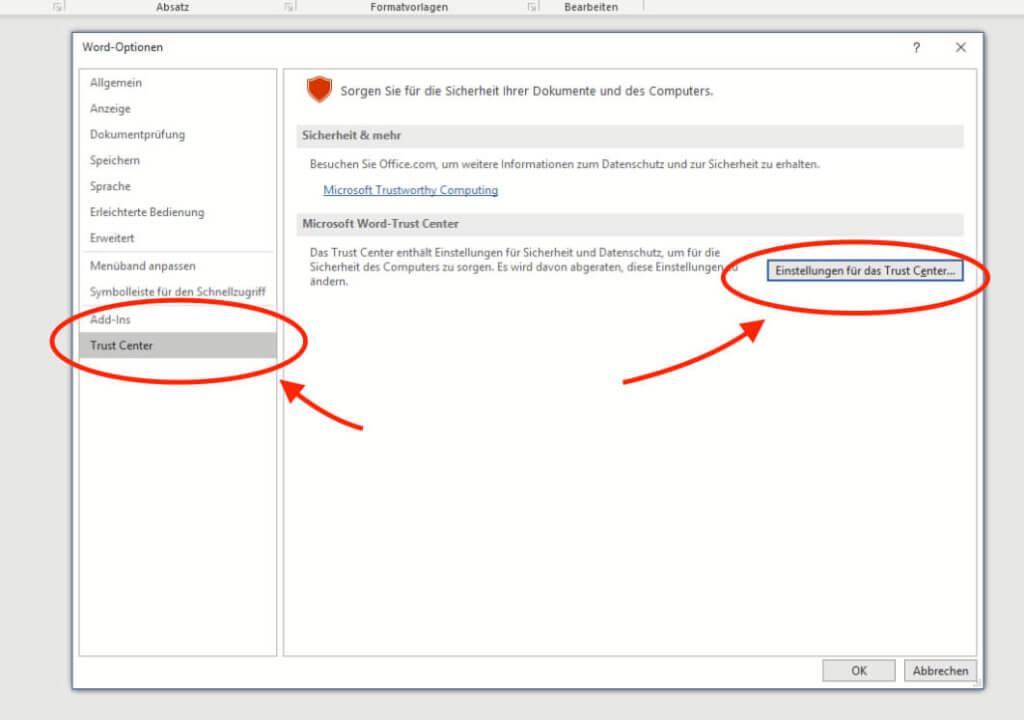 """In Word findet man unter Datei > Optionen das """"Trust-Center"""", in dem Sicherheitseinstellungen vorgenommen werden."""