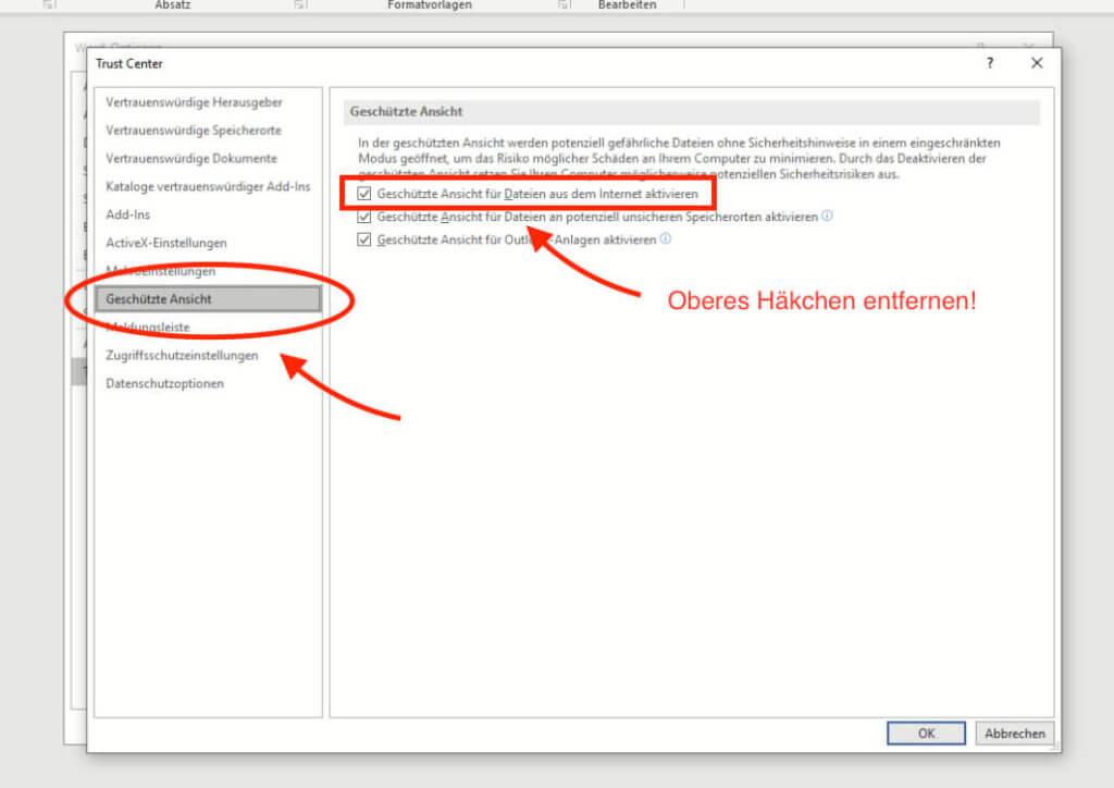 """Unter """"Geschützte Ansicht"""" kann man die gleichnamige Option für Dateien aus dem Internet deaktivieren."""