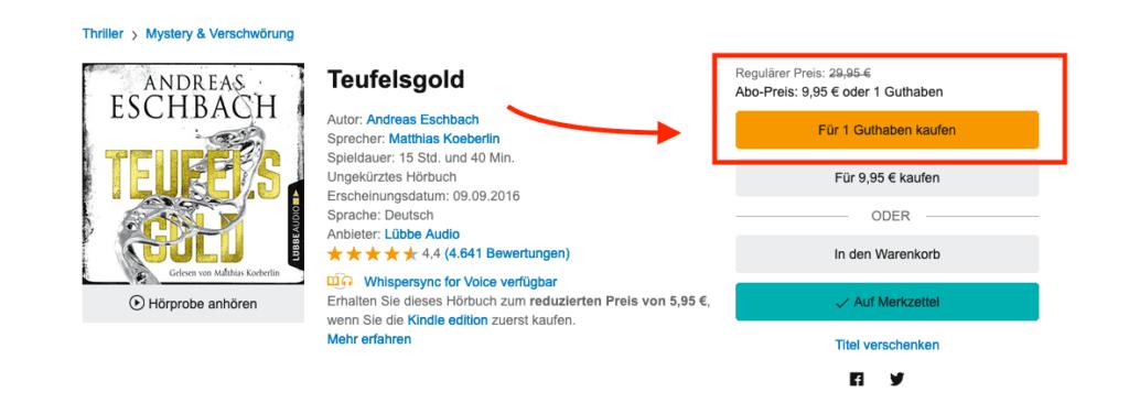 Über die Webseite erhält man mit dem Guthaben für knapp 10 Euro ein Hörbuch – bei Angeboten sogar für ca. 5 Euro.