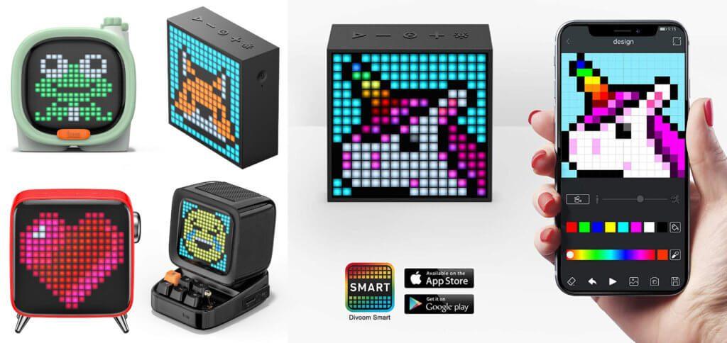 Die Divoom Lautsprecher sind cool designte Bluetooth Speaker mit Pixel-Art-Displays. Gute Audio-Qualität trifft bei ihnen auf ein Display für individuelle Grafiken, Schriften, Spiele und Verwendung als Uhr. Mit der Divoom App (s.u.) werden die Einstellungen vorgenommen.