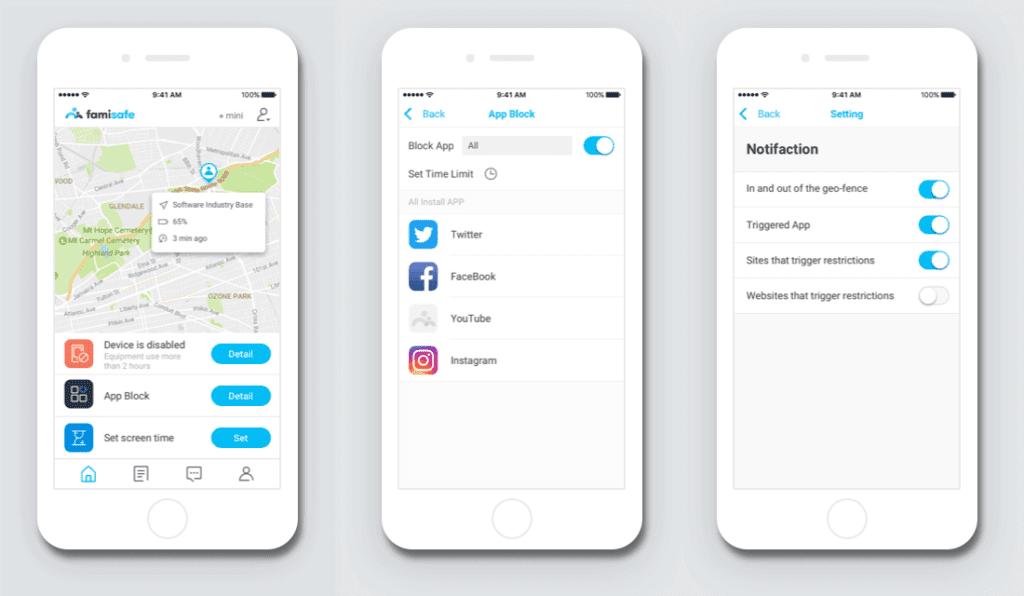 Alle Funktionen lassen sich über die Famisafe-App für die Eltern einstellen.