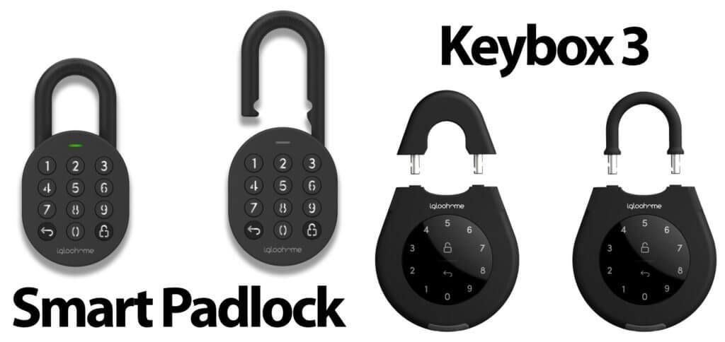 Das igloohome Smart Padlock ist ein Vorhängeschloss mit Zahlenfeld. Auch die Keybox 3, ein Schlüsselsafe für den Außeneinsatz, kann per PIN geöffnet werden.