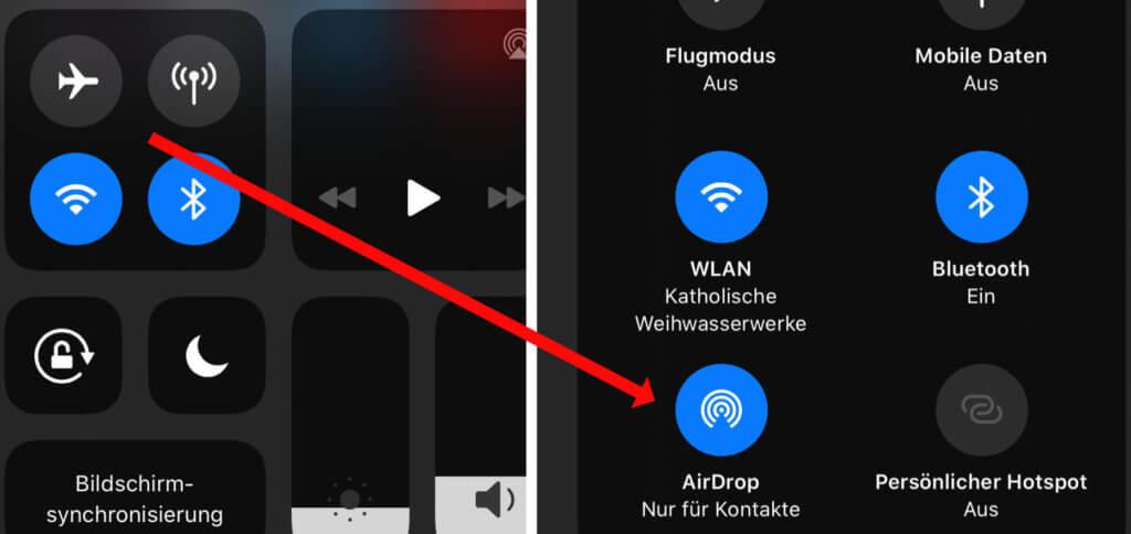 Apple AirDrop am iPhone nutzen geht über das Kontrollzentrum; auch hier müssen im Grunde nur Bluetooth und WLAN an sein.