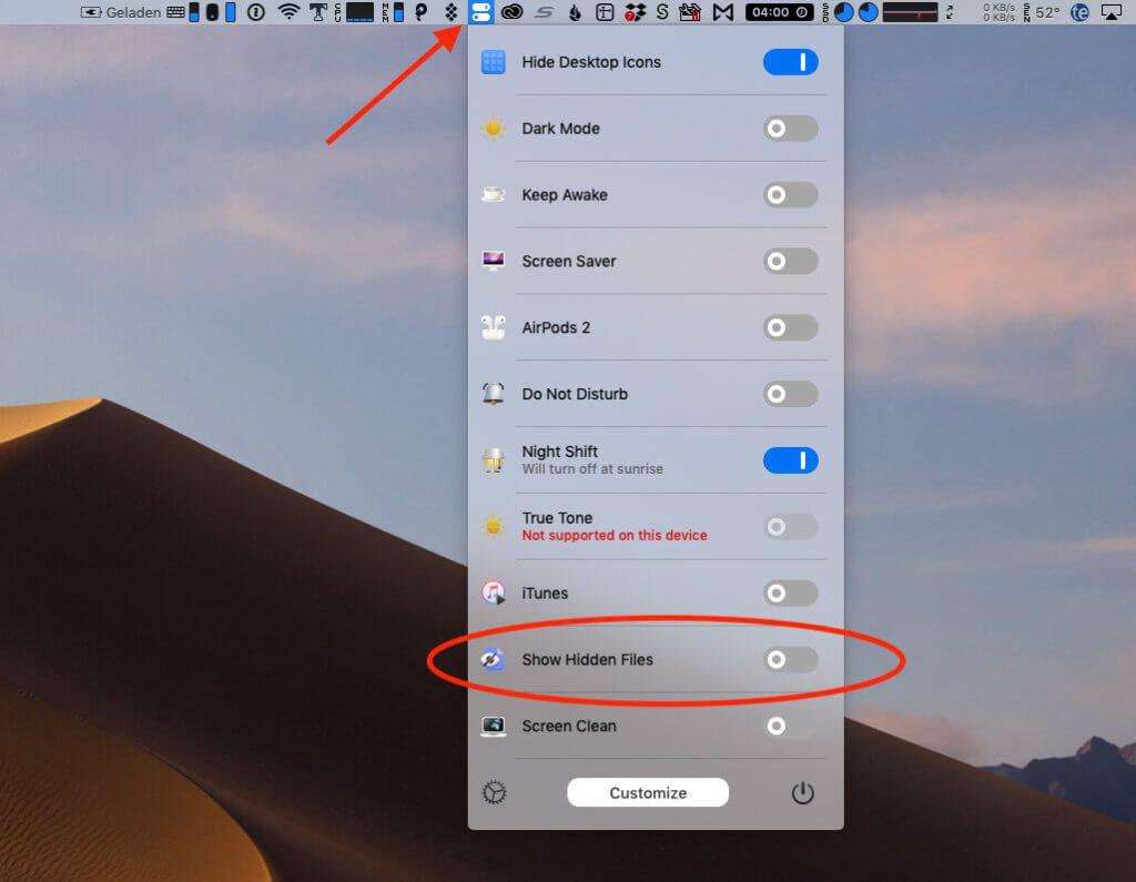 Mit der App One Switch läßt sich leicht über die Menüleiste entscheiden, ob versteckte Dateien sichtbar oder verborgen sein sollen.