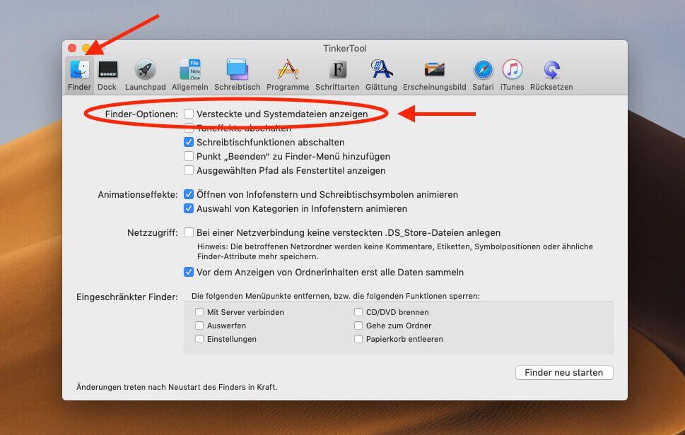 Auch mit dem kostenlosen TinkerTool lassen sich die versteckten Dateien und Ordner am Mac einblenden.