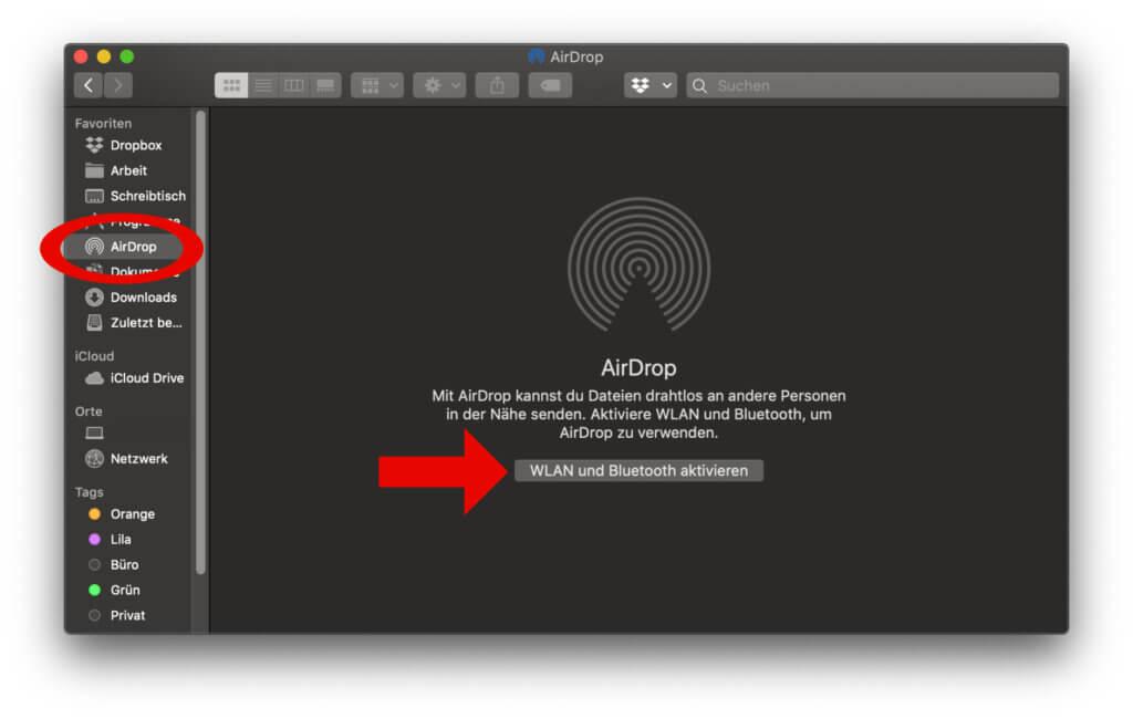 Apple AirDrop am Mac aktivieren geht unter anderem über den Finder. Ihr müsst aber quasi nur WLAN und Bluetooth einschalten ;)