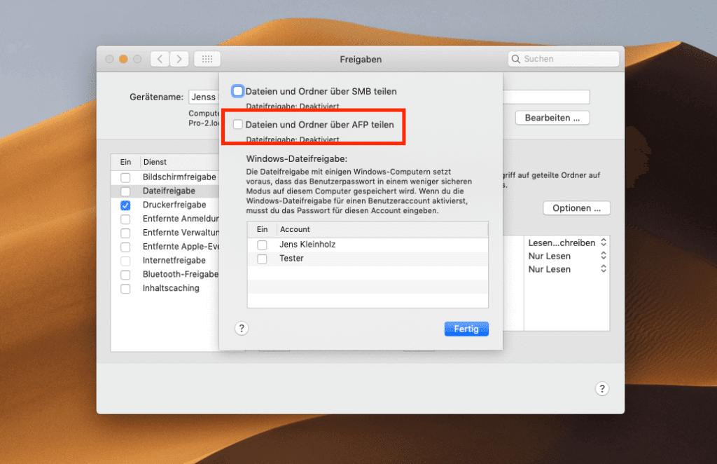 In den erweiterten Optionen der Dateifreigabe sollte das AFP-Protokoll deaktiviert sein und stattdessen SMB aktiviert werden.