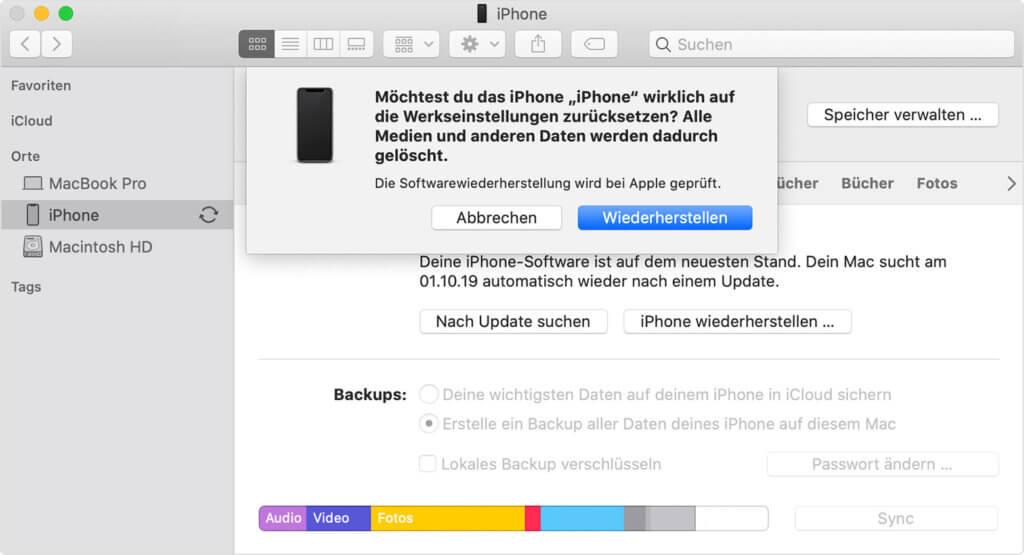 iPhone Reset auf Werk Einstellungen, Anleitung 2019