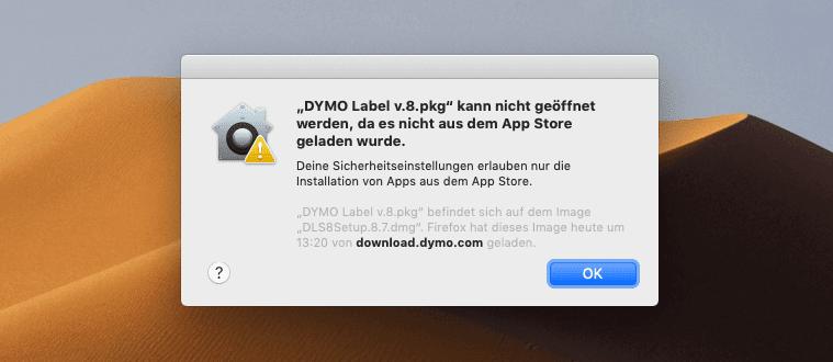 """Die macOS Fehlermeldung """"Programm XYZ kann nicht geöffnet werden, da es nicht aus dem App Store geladen wurde."""" läßt sich leicht umgehen."""