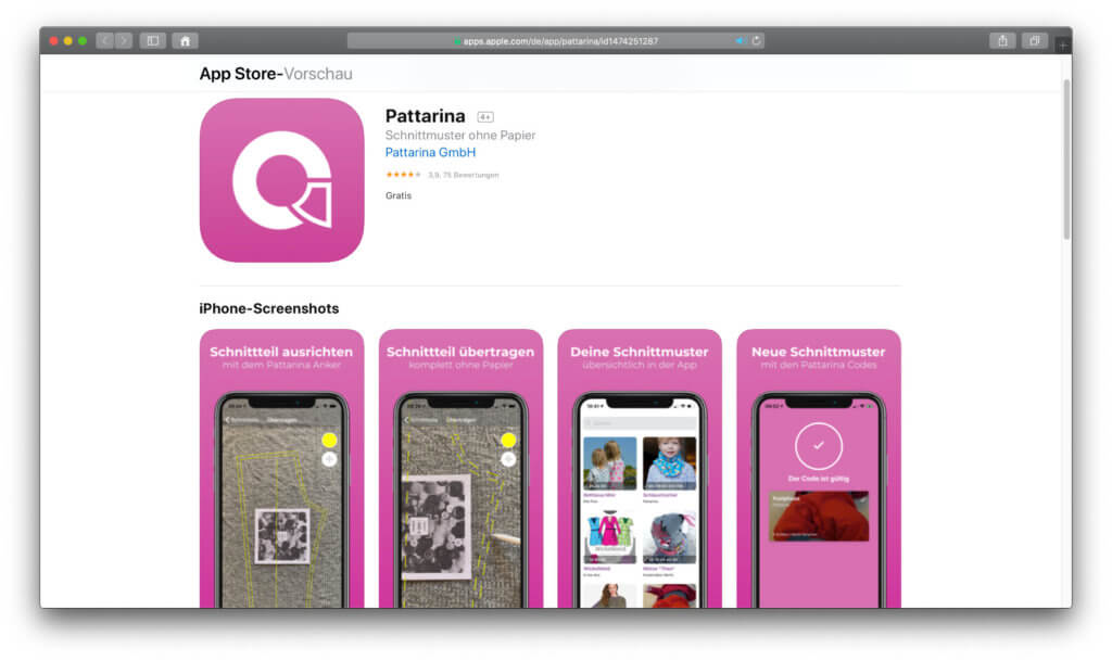 Die Pattarina App hilft, Schnittmuster auf Stoff oder einen Papierbogen zu zeichnen. Mit Augmented Reality erspart ihr euch viele A4-Drucke, den Gang zum Copyshop oder andere Workarounds. Ein bisschen Übung ist sicher nötig.