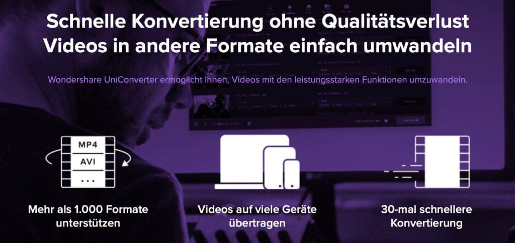 Die UniConverter App von Wondershare kann Videos in etlichen Formaten umwandeln. Aber auch Video-Download, DVDs brennen, Videos bearbeiten, GIFs erstellen, VR-Videos erzeugen, Screen Recording und mehr sind mit dem Video-Konverter möglich! Das rechtfertigt den Preis von 59,99 € – bzw. 41,99 € in der aktuellen Aktion ;)