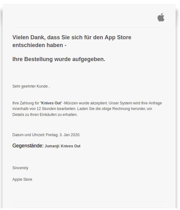 """So oder so ähnlich kann die gefälschte Apple-Mail aussehen. Per Anhang oder Link erhaltet ihr eine PDF (die """"Rechnung""""), welche auf die Betrügerseite führt, auf der persönliche Daten, Kreditkarteninformationen und der Ausweis hochgeladen werden sollen."""