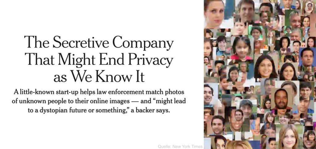 """Die New York Times hat über die ClearView App respektive über das Unternehmen Clearview AI berichtet – und damit die Gefahren der KI-getriebenen Gesichtserkennung klar gemacht. Hier die Infos und Tipps fürs """"Anti-Gesicht""""."""